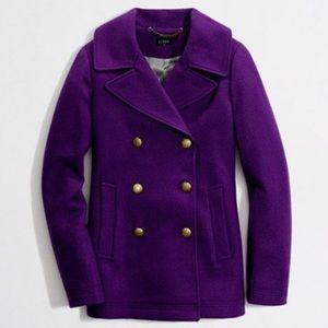 J. Crew Purple Pea Coat, Size 6